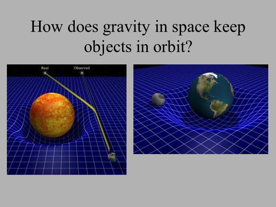 How does gravity in space keep objects in orbit