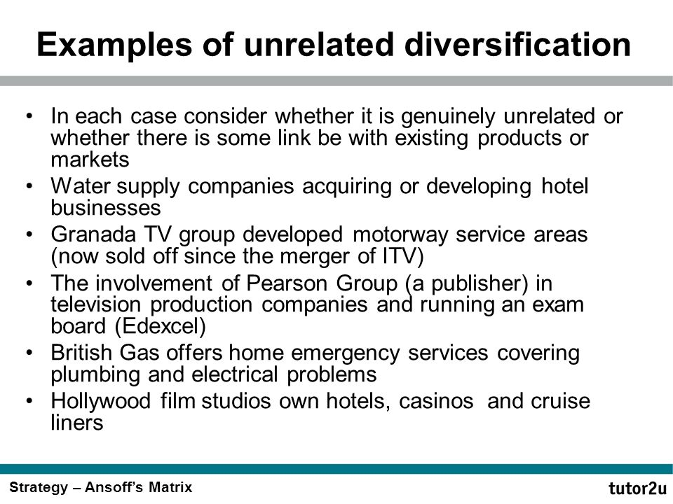 nucor corporation related and unrelated diversification Assignment #4: hrm issues/diversification strategies conduct an analysis of case #10 nucor corporation and prepare a (4-5 page report) discuss the.