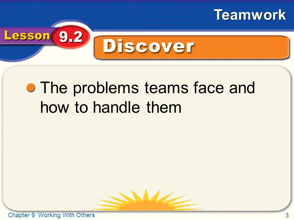 3 Chapter 9 Working With Others Teamwork Discover The problems teams face and how to handle them