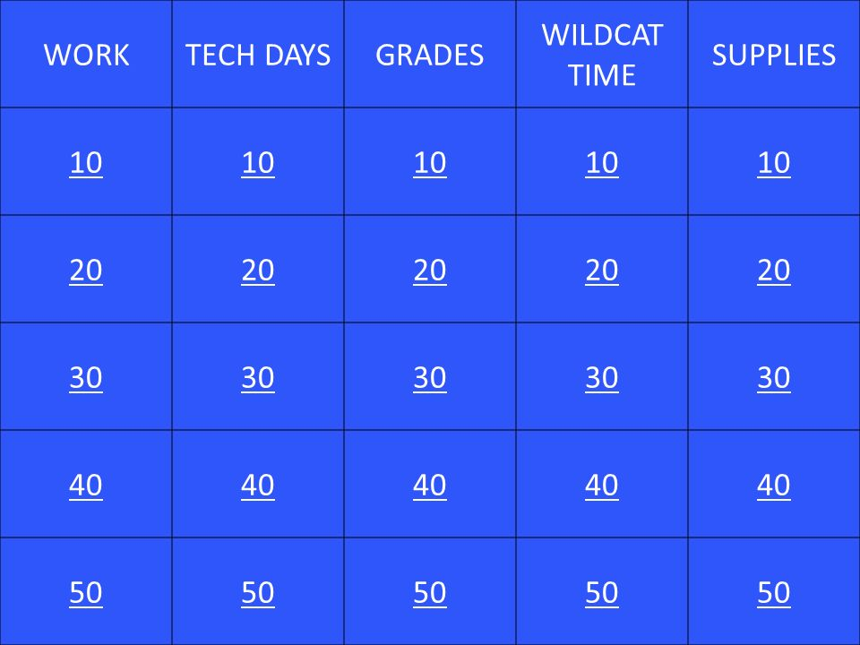 WORKTECH DAYSGRADES WILDCAT TIME SUPPLIES