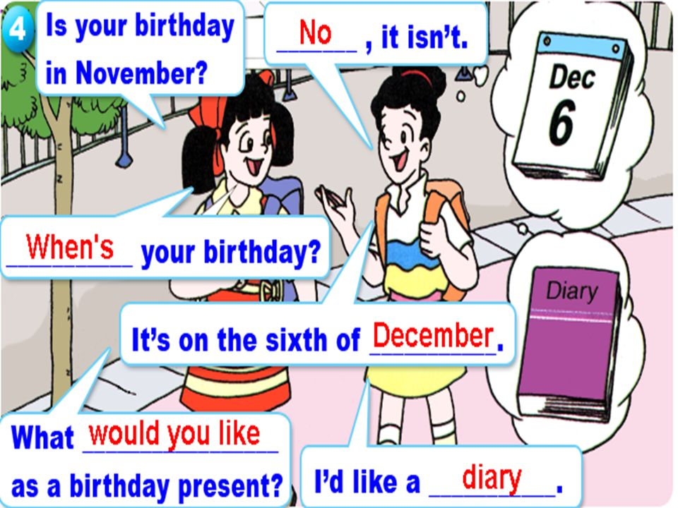 Is your birthday In November . ____, it isn't. ____ your birthday .
