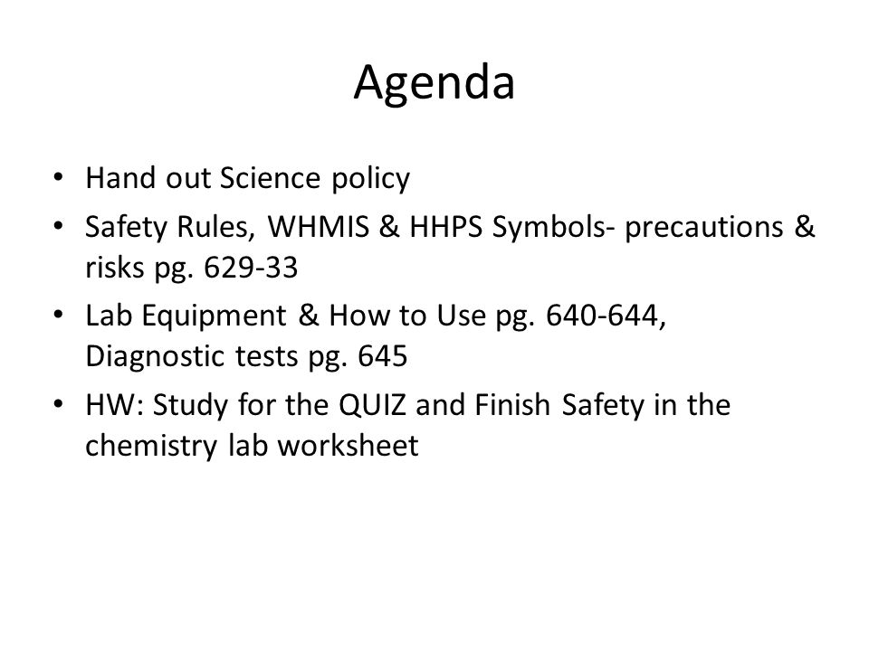WELCOME TO SCH3U INTRO Agenda Hand out Science policy Safety – Science Safety Rules Worksheet