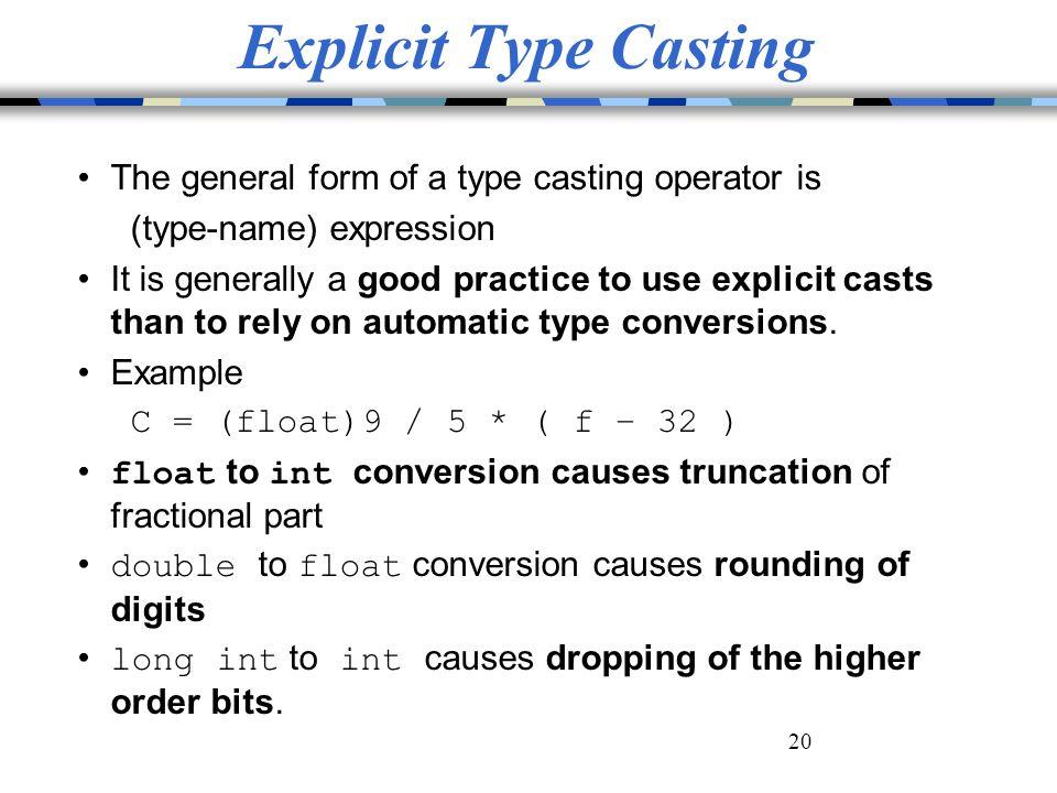 explicit type conversion