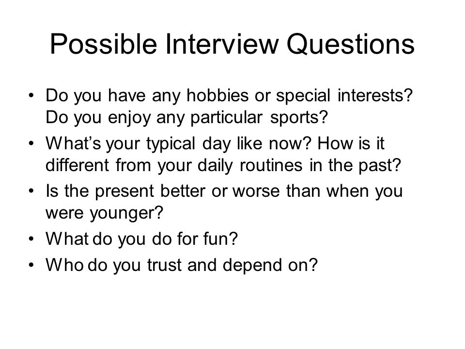 what do you do for fun interview question