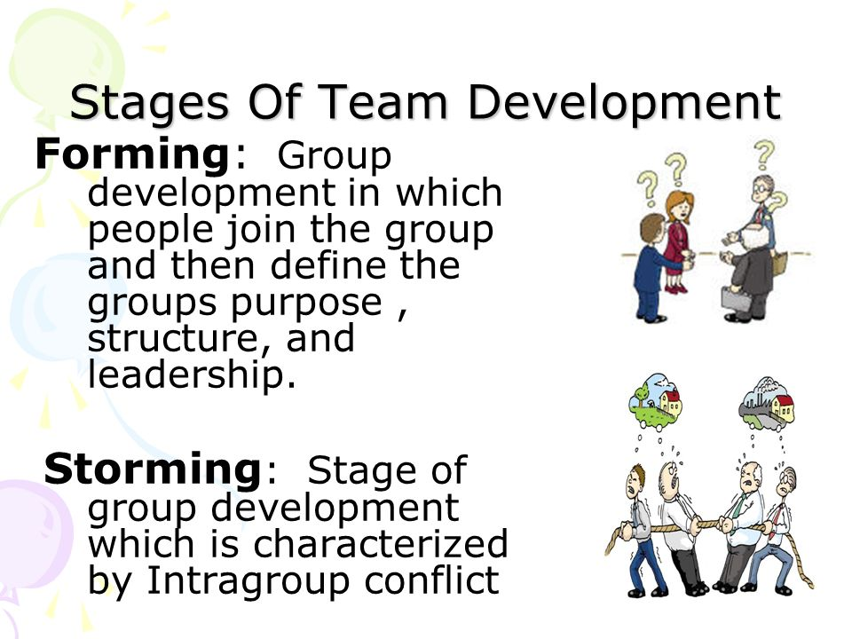 Stages Of Team Development Forming: Group development in which people join the group and then define the groups purpose, structure, and leadership. St