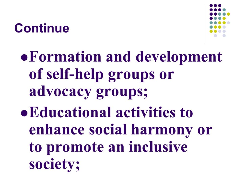 Continue Formation and development of self-help groups or advocacy groups; Educational activities to enhance social harmony or to promote an inclusive society;