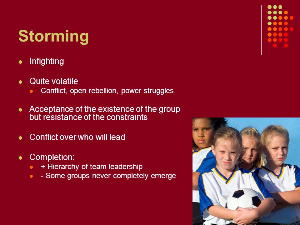 Storming Infighting Quite volatile Conflict, open rebellion, power struggles Acceptance of the existence of the group but resistance of the constraints Conflict over who will lead Completion: + Hierarchy of team leadership - Some groups never completely emerge