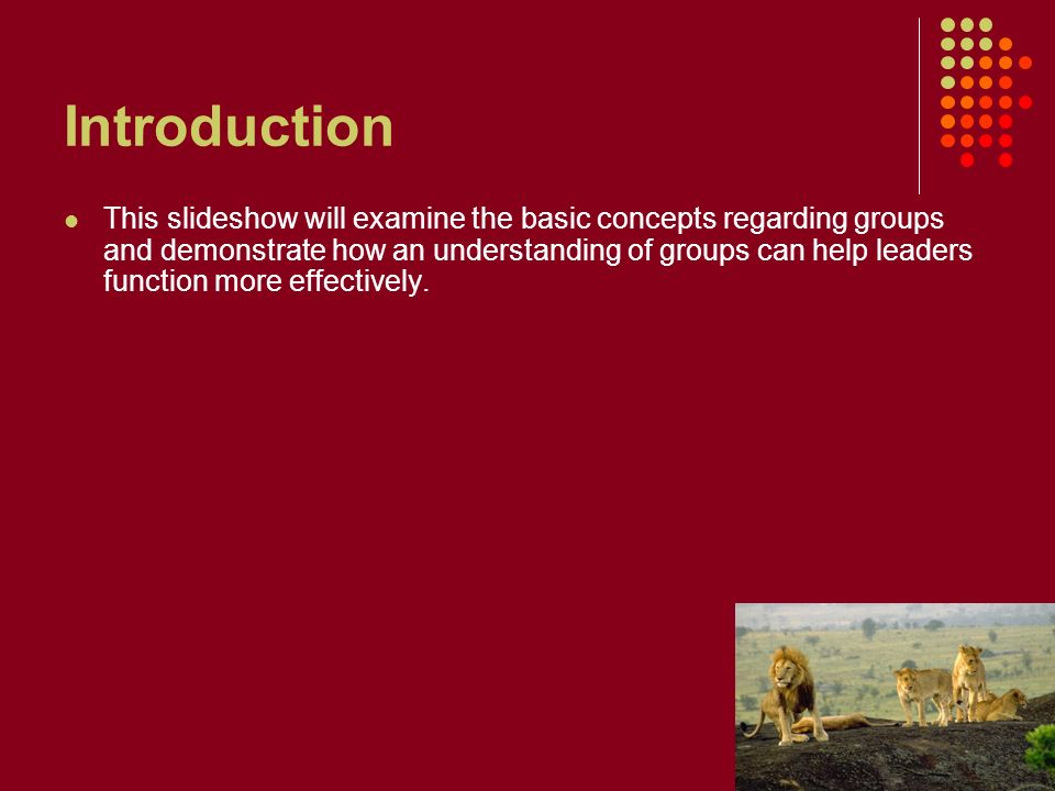 Introduction This slideshow will examine the basic concepts regarding groups and demonstrate how an understanding of groups can help leaders function more effectively.