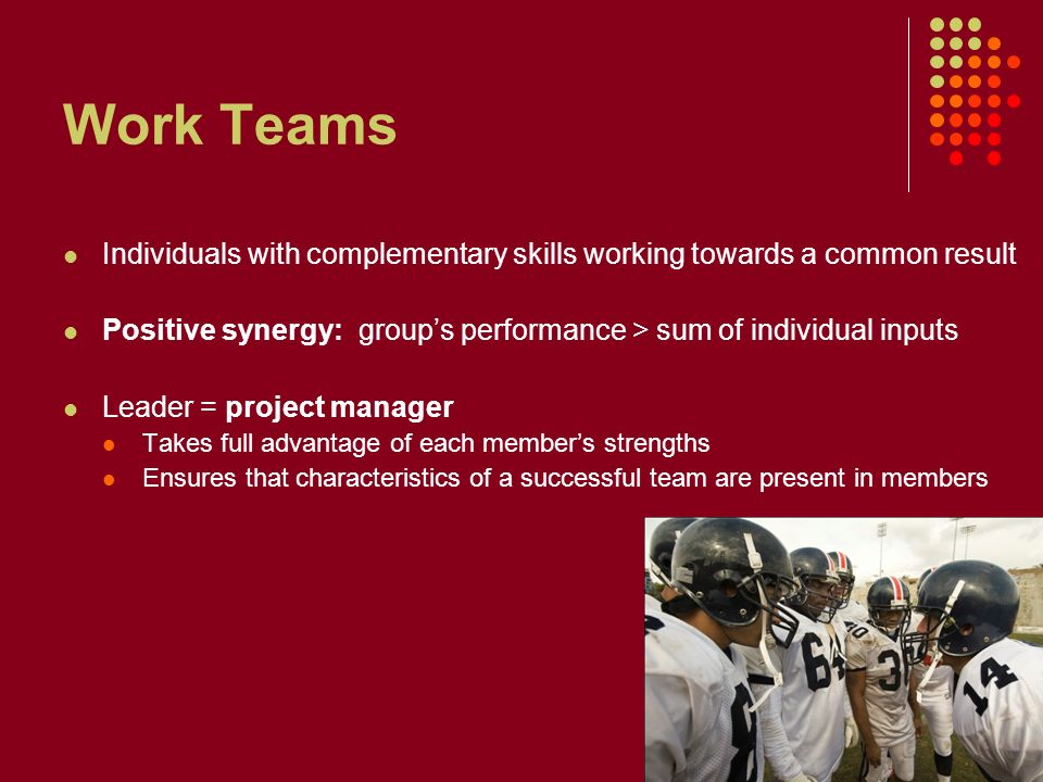 Work Teams Individuals with complementary skills working towards a common result Positive synergy: group's performance > sum of individual inputs Leader = project manager Takes full advantage of each member's strengths Ensures that characteristics of a successful team are present in members