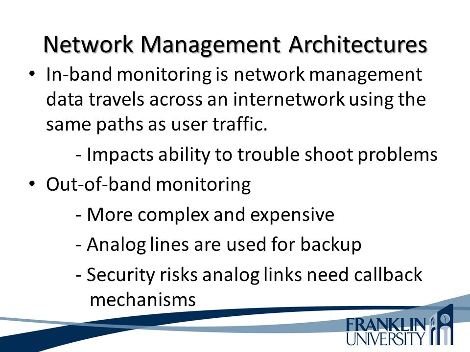 Network Management Architectures In-band monitoring is network management data travels across an internetwork using the same paths as user traffic.