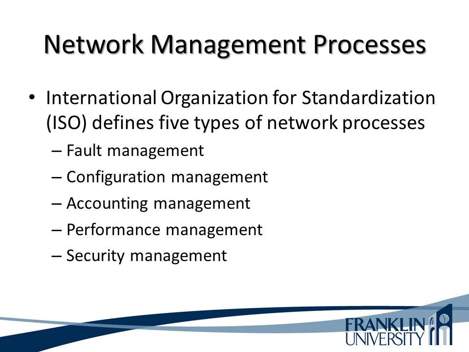 Network Management Processes International Organization for Standardization (ISO) defines five types of network processes – Fault management – Configuration management – Accounting management – Performance management – Security management
