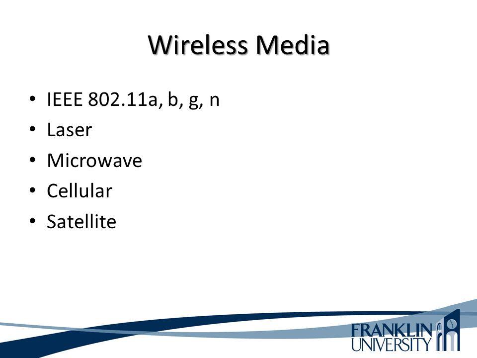 Wireless Media IEEE 802.11a, b, g, n Laser Microwave Cellular Satellite