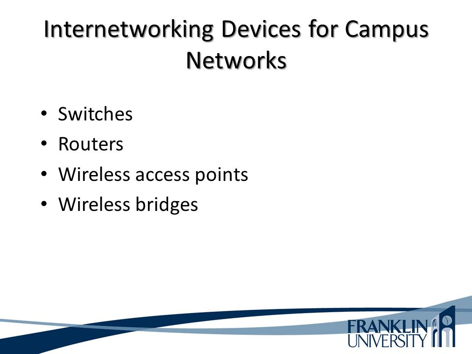Internetworking Devices for Campus Networks Switches Routers Wireless access points Wireless bridges