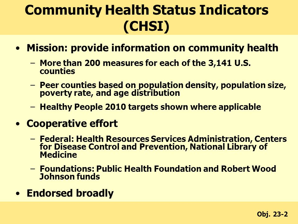 Mission: provide information on community health –More than 200 measures for each of the 3,141 U.S.