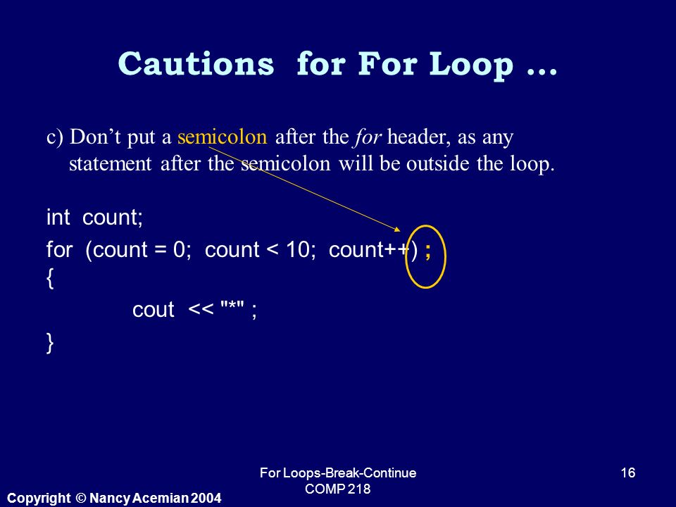 Copyright © Nancy Acemian 2004 For Loops-Break-Continue COMP c) Don't put a semicolon after the for header, as any statement after the semicolon will be outside the loop.