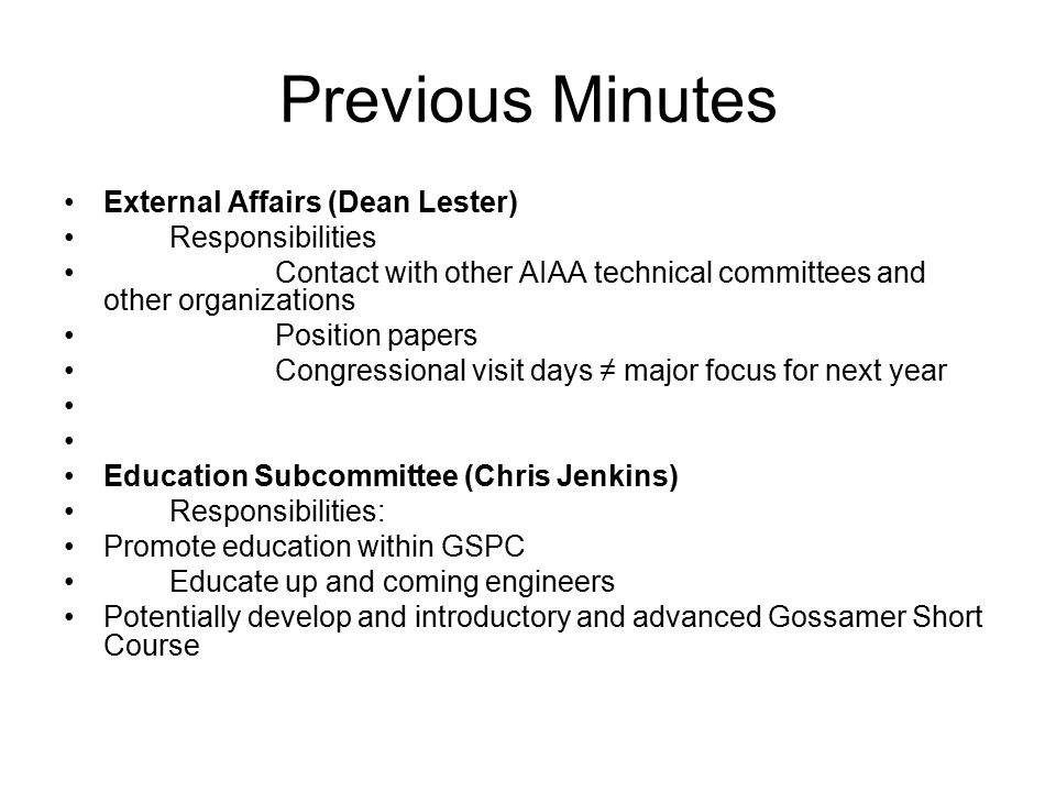 aiaa gossamer subcommittee previous minutes april ppt download