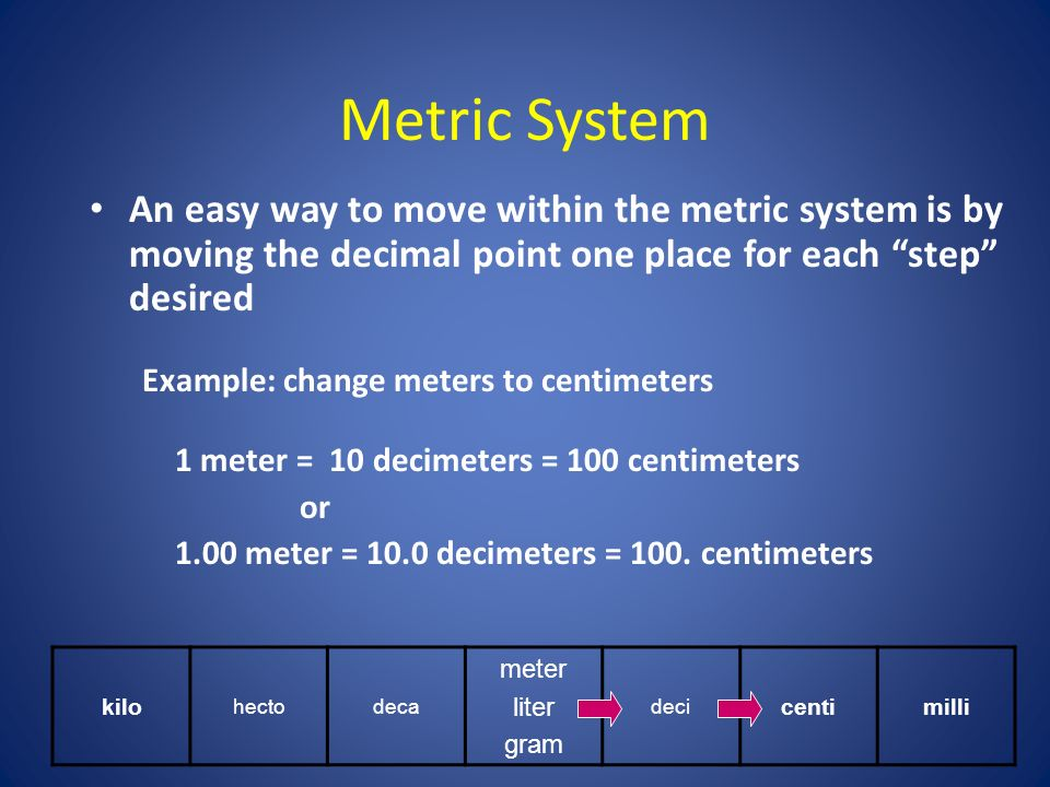 Metric System An easy way to move within the metric system is by moving the decimal point one place for each step desired Example: change meters to centimeters 1 meter = 10 decimeters = 100 centimeters or 1.00 meter = 10.0 decimeters = 100.