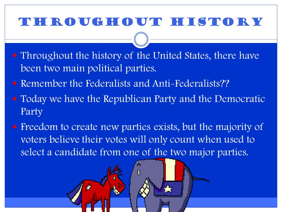 Throughout History Throughout the history of the United States, there have been two main political parties.