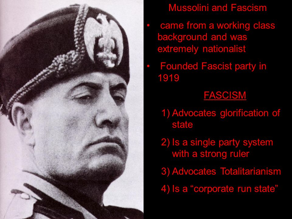 The Rise of Mussolini. Things you'll want to know for your study ...