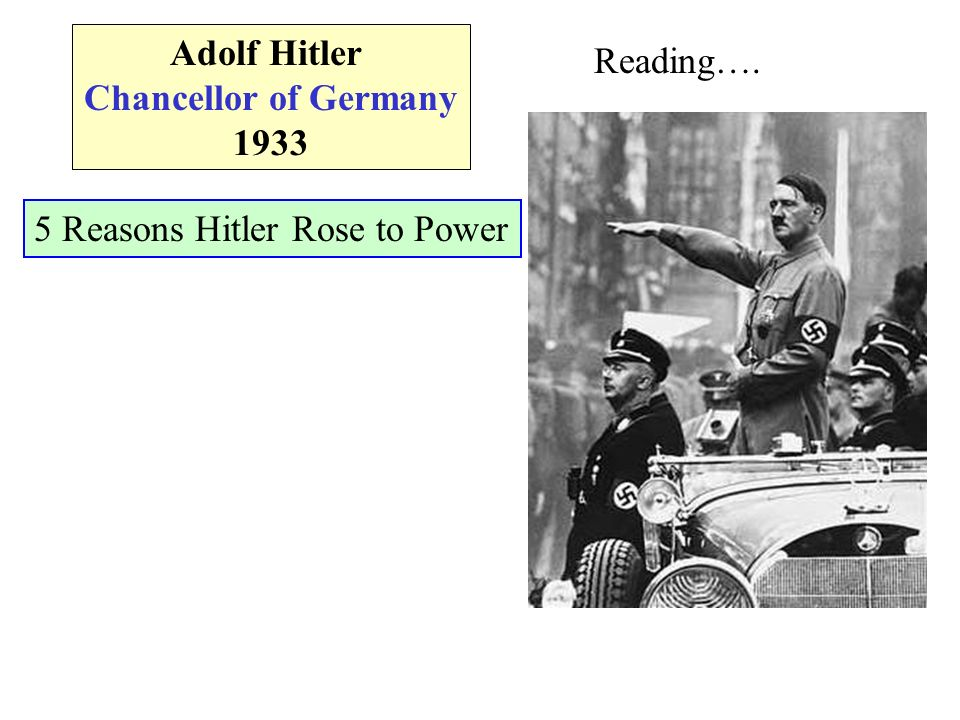 Adolf Hitler Chancellor of Germany 1933 Reading…. 5 Reasons Hitler Rose to Power