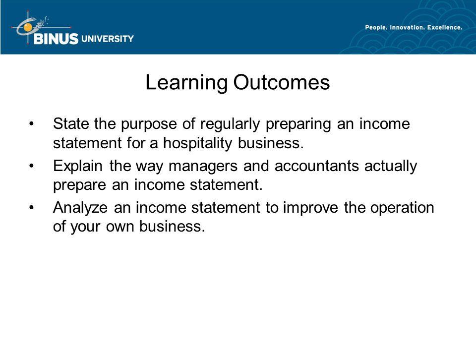 The Income Statement Chapter 3 Matakuliah V Manajemen Akuntansi – Preparing a Profit and Loss Statement