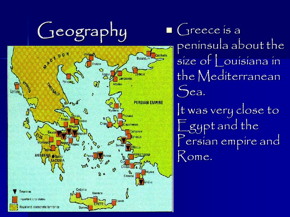 Ancient Greece Geography Greece Is A Peninsula About The Size Of - Map of egypt greece and rome
