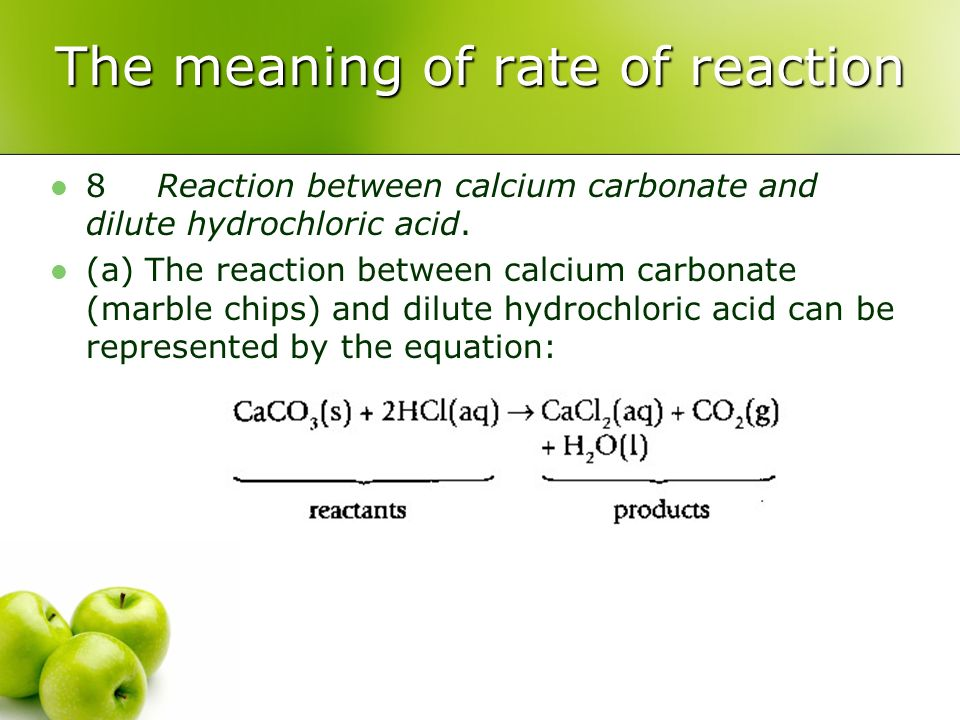 rate reaction between marble chips and hydrochloric acid