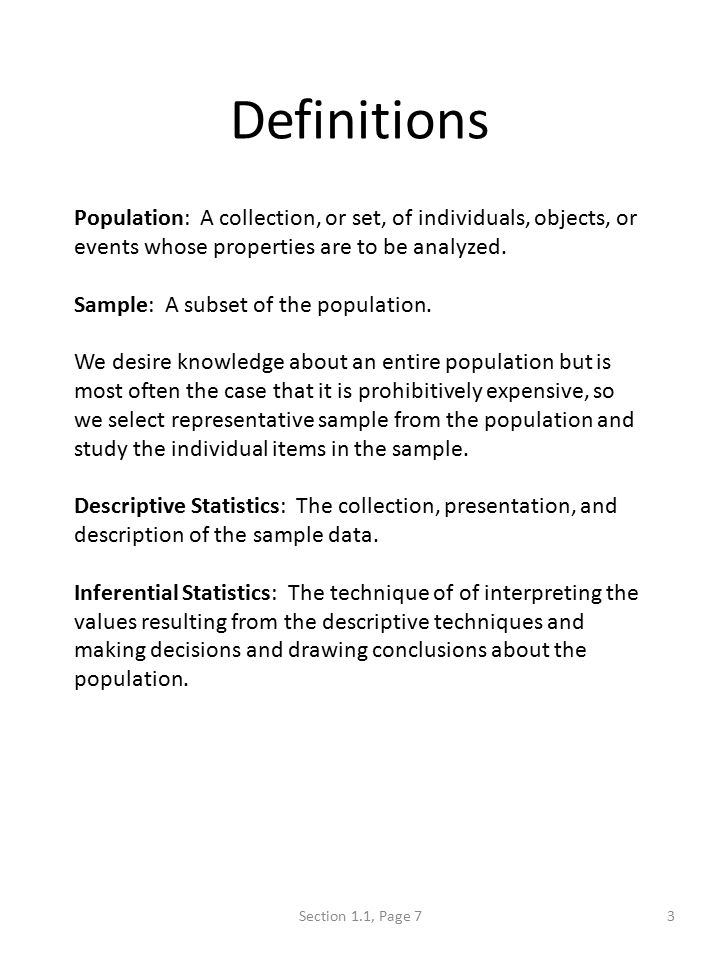 What is Statistics 1Section 1.1, Page 5. Definition: Statistics ...