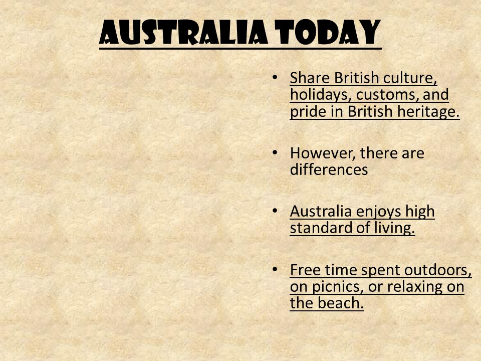 AUSTRALIA TODAY Share British culture, holidays, customs, and pride in British heritage.