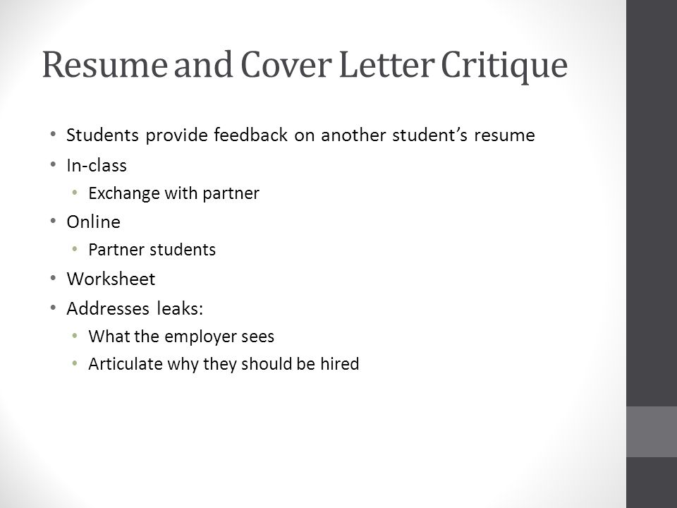 16 resume and cover letter critique students provide feedback on another students resume in class exchange with partner online partner students worksheet - Cover Letter Critique