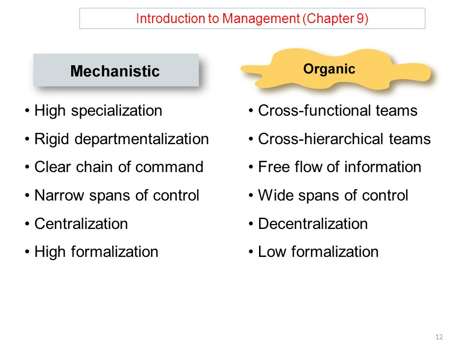 Introduction to Management (Chapter 9) 12 High specialization Rigid departmentalization Clear chain of command Narrow spans of control Centralization High formalization Cross-functional teams Cross-hierarchical teams Free flow of information Wide spans of control Decentralization Low formalization