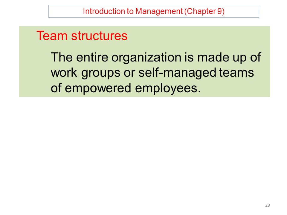 Introduction to Management (Chapter 9) 29 Team structures The entire organization is made up of work groups or self-managed teams of empowered employees.