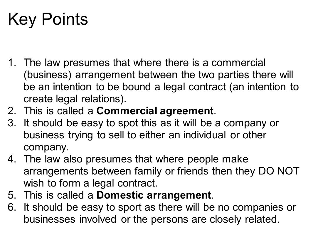 Intention to create legal relations Definition The parties to a – Contract Between Two People