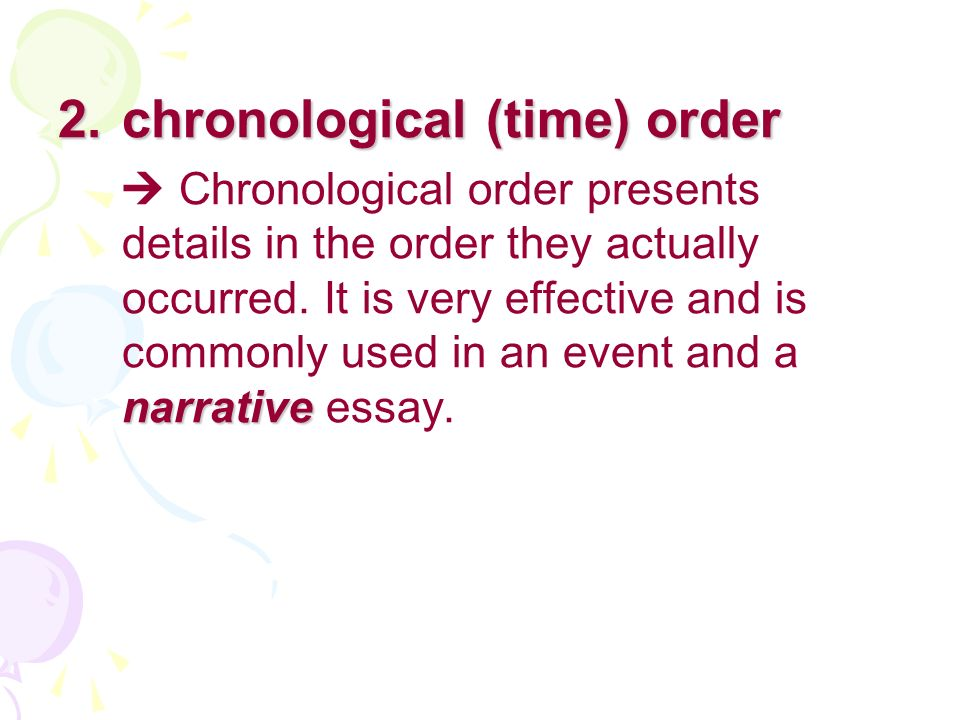 chronological essay The college application essay is your chance to show schools who you are learn how to write a college essay that sets you crafting an unforgettable college essay.