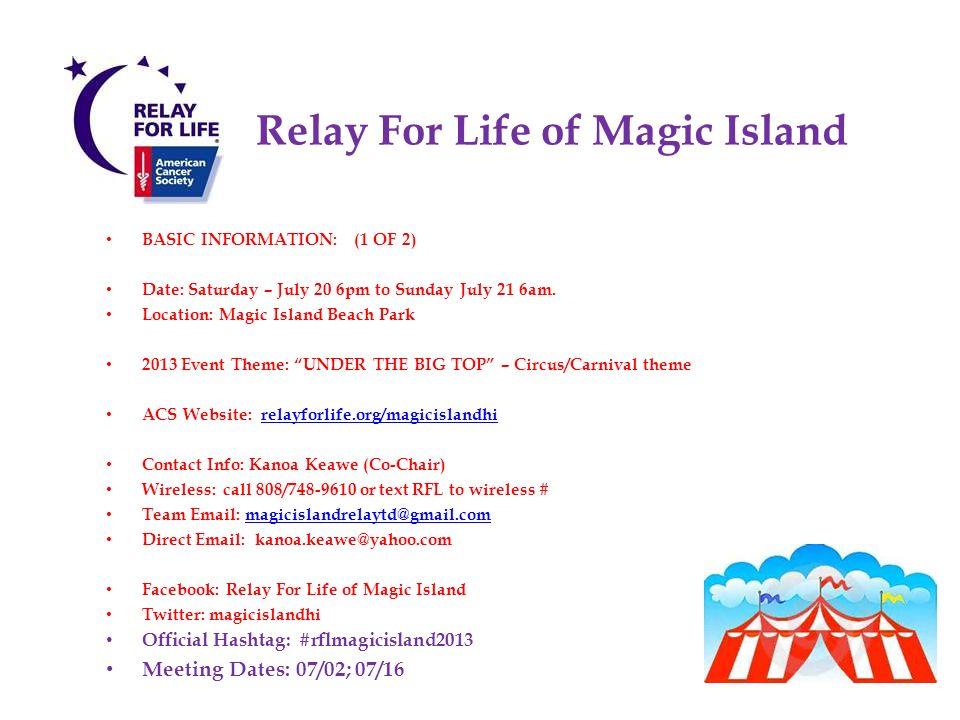 Relay For Life of Magic Island June Team Captain Meeting AGENDA