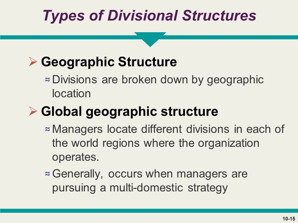 10-15 Types of Divisional Structures  Geographic Structure ≈ Divisions are broken down by geographic location  Global geographic structure ≈ Managers locate different divisions in each of the world regions where the organization operates.
