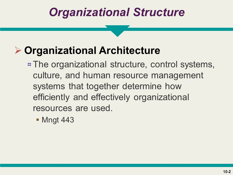 10-2 Organizational Structure  Organizational Architecture ≈ The organizational structure, control systems, culture, and human resource management systems that together determine how efficiently and effectively organizational resources are used.