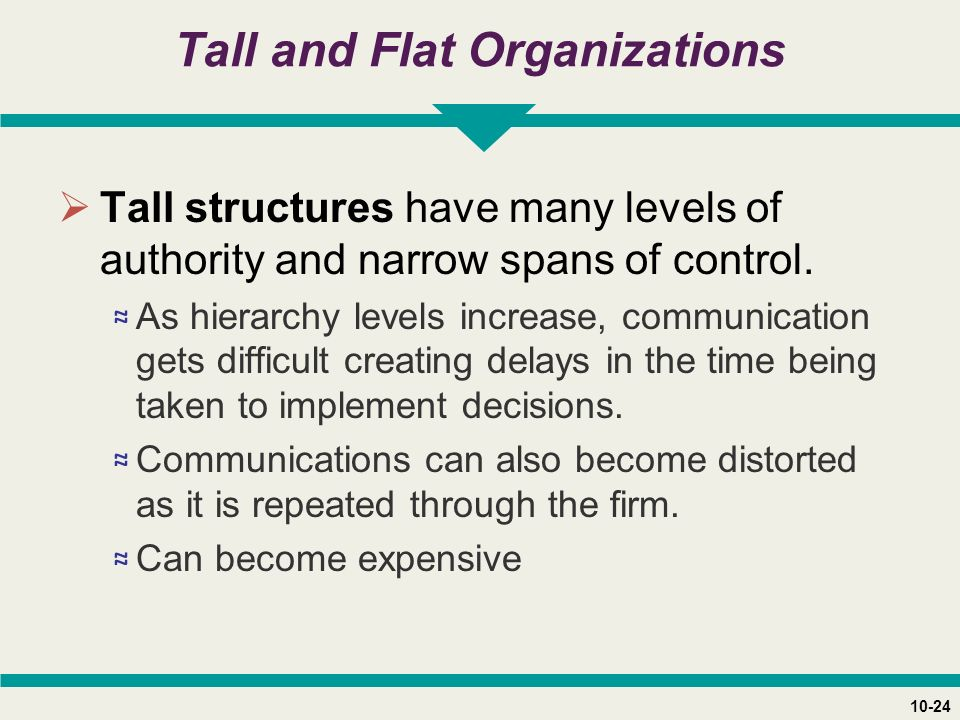 10-24 Tall and Flat Organizations  Tall structures have many levels of authority and narrow spans of control.