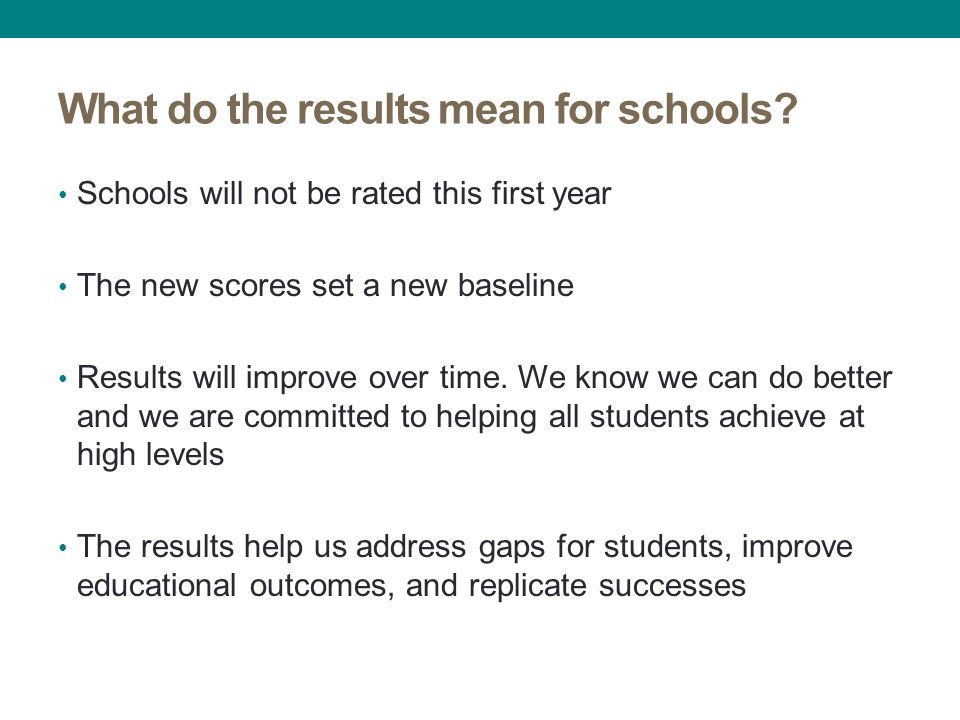 What do the results mean for schools.