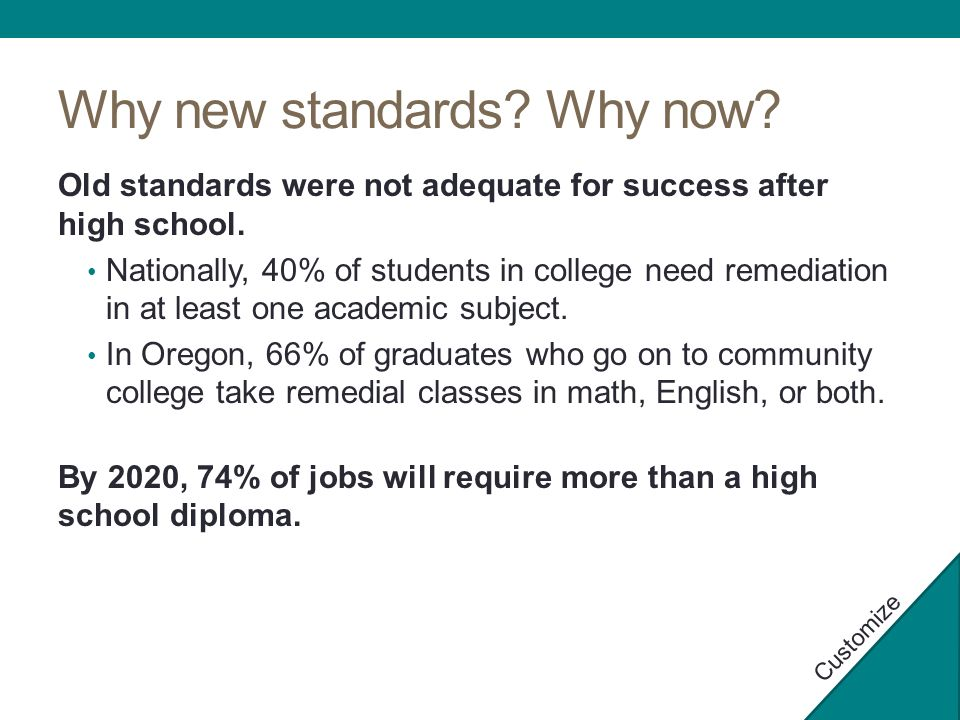 Why new standards. Why now. Old standards were not adequate for success after high school.