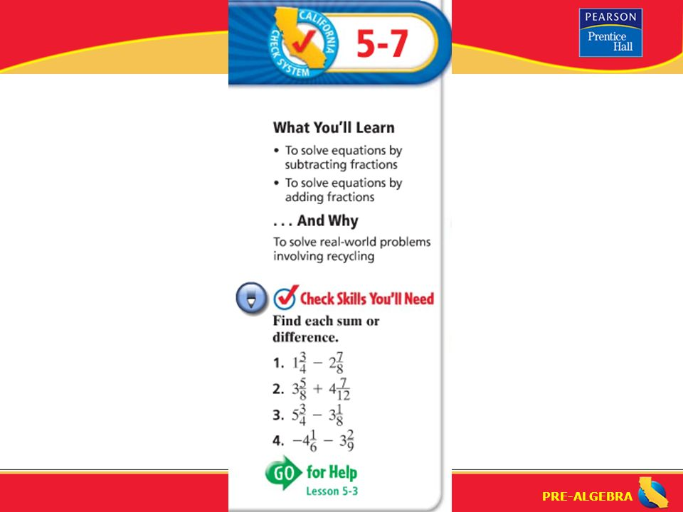 Pre algebra solving equations by adding and subtracting fractions 1 pre algebra ccuart Images