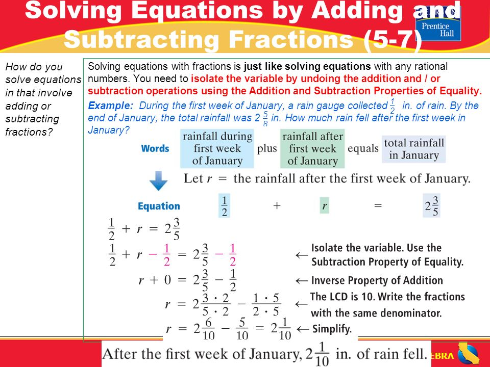 Pre algebra solving equations by adding and subtracting fractions 3 pre algebra ccuart Images