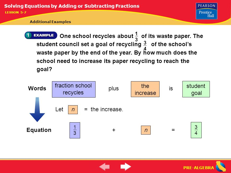 Pre algebra solving equations by adding and subtracting fractions 4 pre algebra ccuart Images
