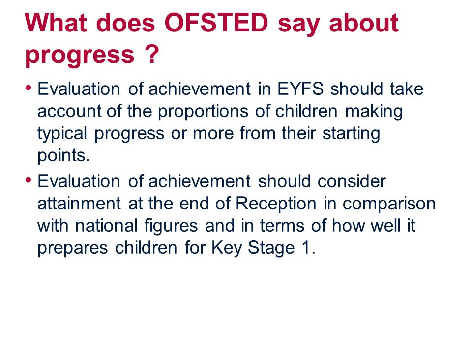 What does OFSTED say about progress .