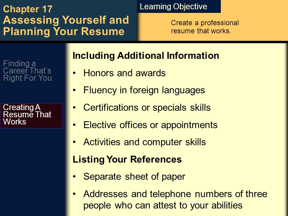 learning objective chapter 17 assessing yourself and planning your - Additional Information On Resume