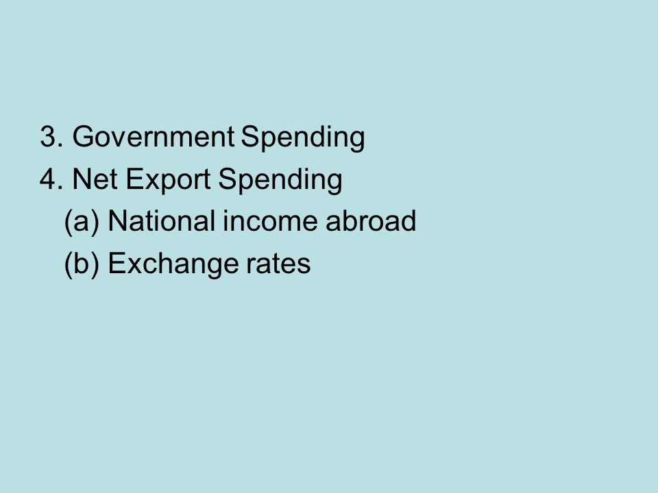 3. Government Spending 4. Net Export Spending (a) National income abroad (b) Exchange rates