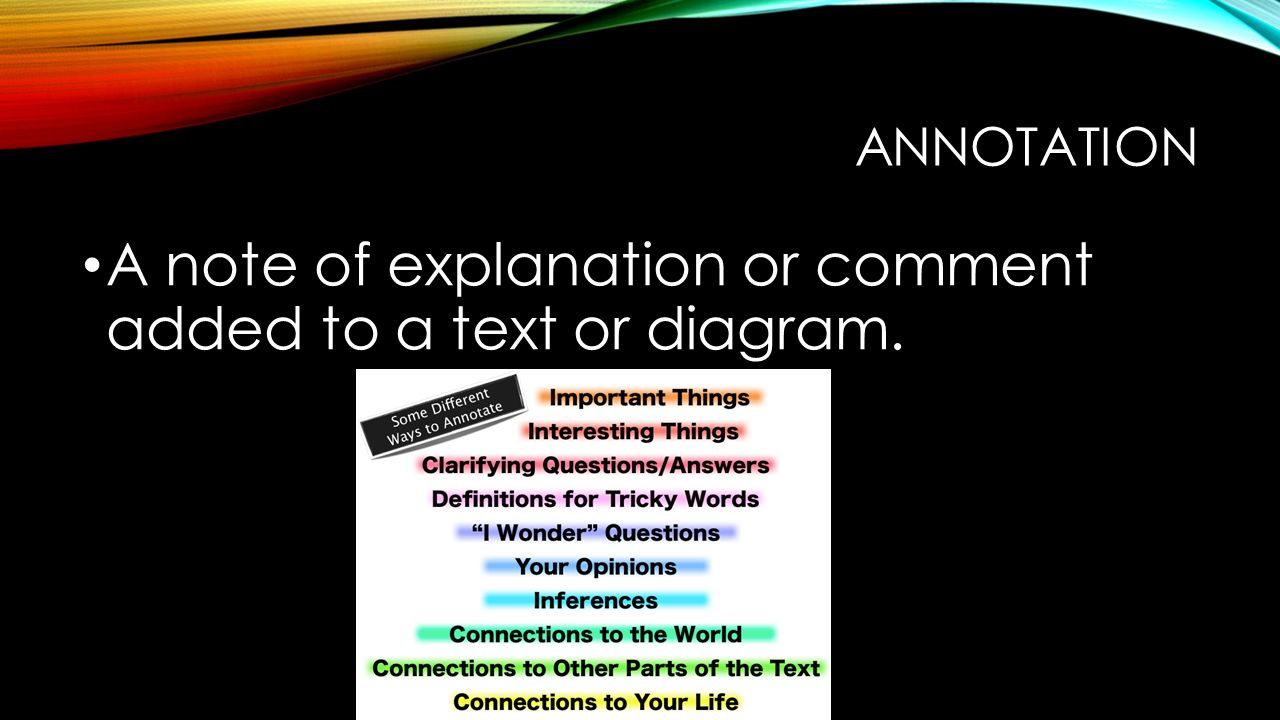 ANNOTATION A note of explanation or comment added to a text or diagram.
