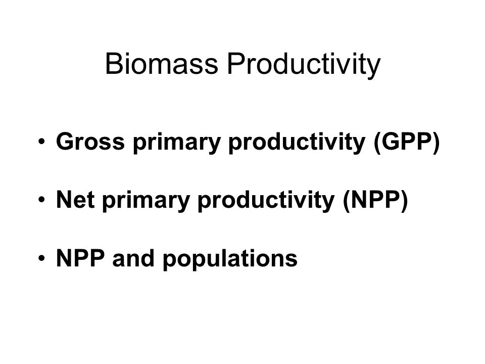 Biomass Productivity Gross primary productivity (GPP) Net primary productivity (NPP) NPP and populations