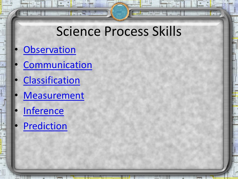 Science Process Skills Observation Communication Classification Measurement Inference Prediction
