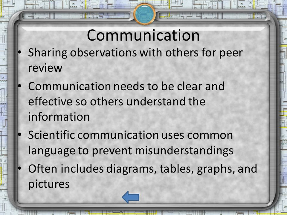 Communication Sharing observations with others for peer review Communication needs to be clear and effective so others understand the information Scientific communication uses common language to prevent misunderstandings Often includes diagrams, tables, graphs, and pictures